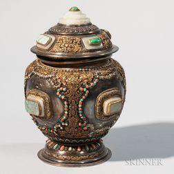 Parcel-gilt Silver/Copper Repousse Covered Vessel