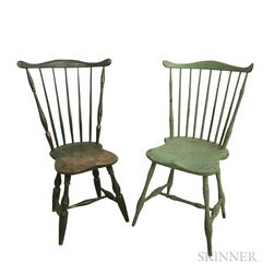 Two Green-painted Fan-back Windsor Side Chairs and a Bow-back Side Chair