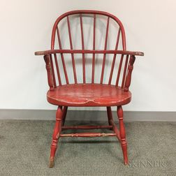 Red-painted Sack-back Windsor Chair