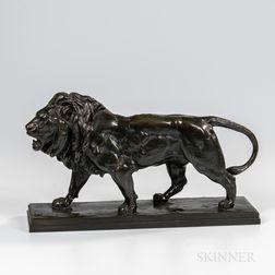 Antoine-Louis Barye (French, 1795-1875)    Bronze Figure Lion qui Marche