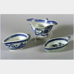 Three Blue and White Chinese Export Porcelain Sauceboats