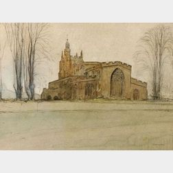 Sir William Rothenstein (British, 1872-1945)    Braintree Church, Essex