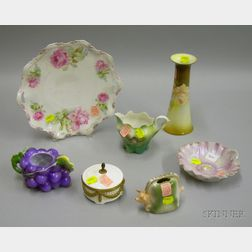 Seven Decorated Porcelain Table Items