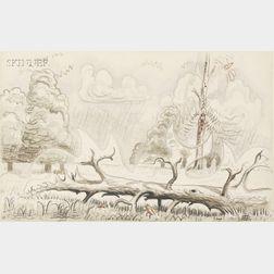 Charles Ephraim Burchfield  (American, 1893-1967)      Fallen Tree