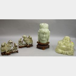 Asian Carved Hardstone Seated Buddha, Jeweled Bust of Kuan Yin, and a Pair of   Birds of Prey with Young Figural Group