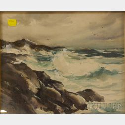 Framed Watercolor on Paper Coastal Landscape by John Cuthbert Hare    (American, 1908-1978)