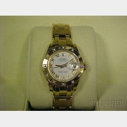 Lady's 18kt Gold and Diamond Wristwatch, Rolex