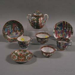 Eight Assorted Chinese Export Porcelain Tea Articles