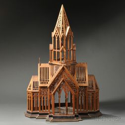 Large Victorian Fret-carved and Wirework Architectural Church Model