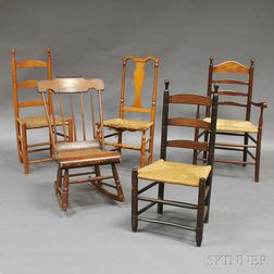 Five Assorted Country Chairs