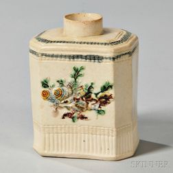 Cream-colored Earthenware Tea Canister