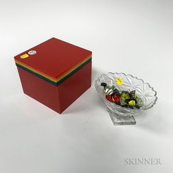 Rainbow Acrylic Box and a Glass Compote and Candy.