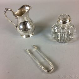 Coin Silver Engraved Water Pitcher, Cut-glass, Silver-topped Cannister, and a Pair of Silver-plated Tongs