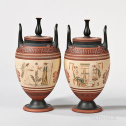 Pair of Wedgwood Encaustic Decorated Terra-cotta Vases and Covers