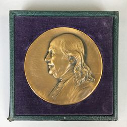 Whitehead-Hoag Bronze Medal of Benjamin Franklin Commemorating the 200th Anniversary of the Saturday Evening Post  .