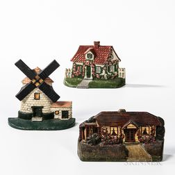 Three Painted Cast Iron Architectural Doorstops