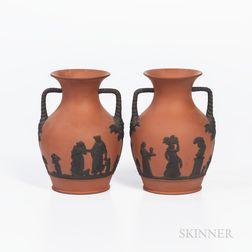 Pair of Wedgwood Rosso Antico Vases