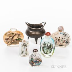 Five Chinese Glass Snuff Bottles and a Bronze Censer
