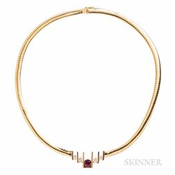 14kt Gold, Ruby, and Diamond Necklace