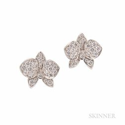 "18kt White Gold and Diamond ""Caresse D'Orchidees"" Earrings, Cartier"