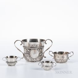 Four English Sterling Silver Caudle Cups