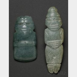 Two Pre-Columbian Carved Jade Pendants