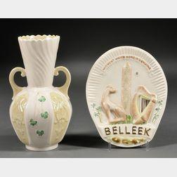 Two Belleek Porcelain Items