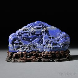 Carved Lapis Lazuli Mountain on Wood Stand