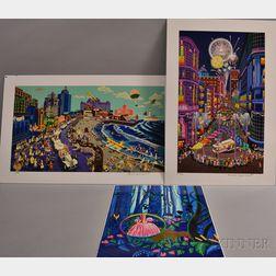 Melanie Taylor Kent (American, 21st Century)      Three Serigraphs: Boardwalk, Atlantic City; Return of the Cable Cars;