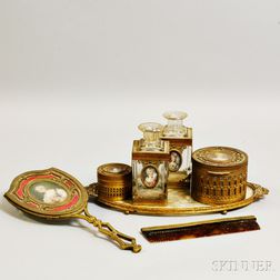 Seven French Gilt-metal and Glass Vanity Items