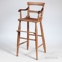 Paint-decorated Cane-seat High Chair