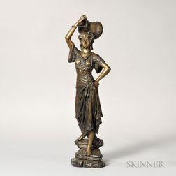 Edouard Drouot (French, 1859-1945)    Bronze Figure of a Woman Supporting a Basin