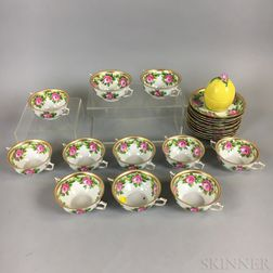 Eleven Rouen for R. Briggs Co. Hand-painted Porcelain Teacups and Saucers