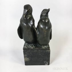 Two Bronze Penguins