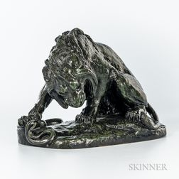 After Antoine-Louis Barye (French, 1795-1875)       Bronze Model of a Lion and Snake