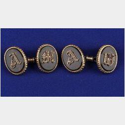 Antique 18kt Gold, Diamond and Bloodstone Chalcedony Cufflinks