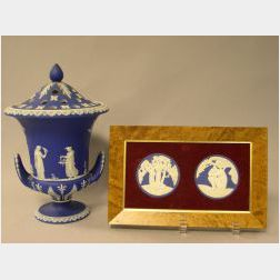 Wedgwood Dark Blue Jasper Dip Bough Pot with Reticulated Cover and a Framed Pair of Wedgwood Solid Dark Blue Jasper Adam and Eve Medall