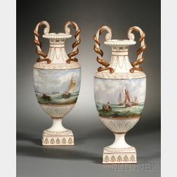 Pair of Wedgwood Marine Decorated Pearlware Vases