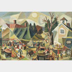 Michael Kelly (American, b. 1897)      Auction at Ridgefield, Conn. Nov. 1966