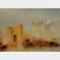 Manner of Joseph Mallord William Turner (British, 1775-1851)      London Bridge and Tower