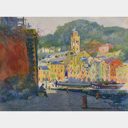 James Jeffrey Grant (American, 1883-1960)      Along the Waterfront, Portofino, Italy