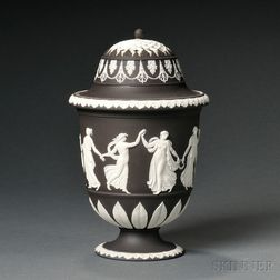 Wedgwood Black Jasper Dip Potpourri Vase and Covers