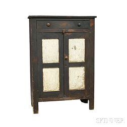 Country Black-painted One-drawer Pie Safe