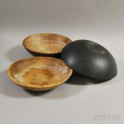 Three Large Maple Treen Bowls