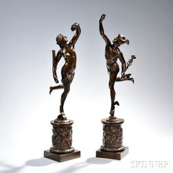 Pair of Grand Tour Bronze Figures Depicting Hermes and Daphne