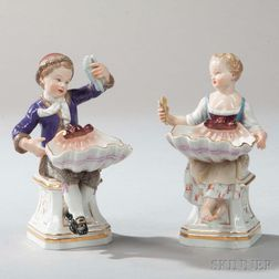 Two Meissen Porcelain Figural Salt Cellars