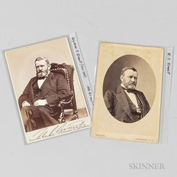 Two General Grant Cabinet Cards, One Autographed