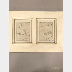 Two Gustave Buchet (Swiss, 1888-1963) Figural Etchings in a Common Frame