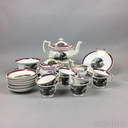 Twenty-three-piece Set of Pink Lustre and Transfer-decorated Teaware.     Estimate $150-250