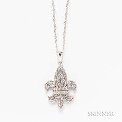 14kt White Gold and Diamond Fleur-de-lis Pendant